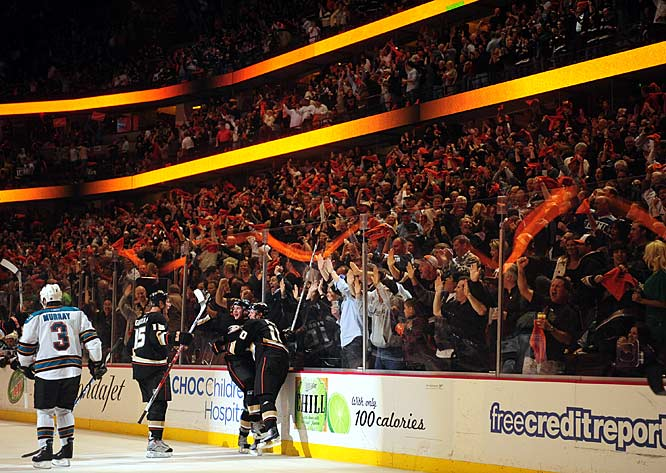 (Left to Right) The Ducks' Ryan Getzlaf, Bobby Ryan and Corey Perry celebrate their line's third goal of Game 4 of the Western Conference quarterfinals.