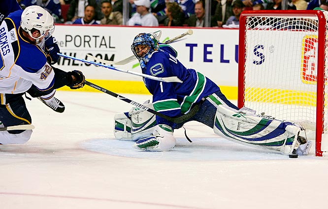 Canucks netminder Roberto Luongo makes a toe save on a shot from Blues forward David Backes during Game 2 of their quarterfinal playoff series.