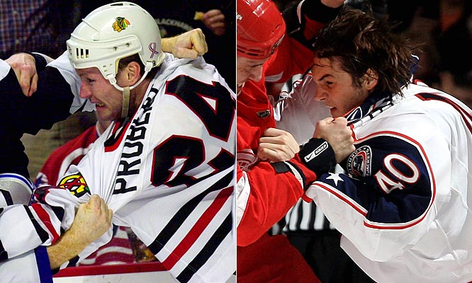 The classic Central Division (it was the Norris in his day) tough guy, Probert made playing the Red Wings an extremely unpleasant affair from 1985 to 1994 before taking his knuckles and cement jaw to Chicago in 1995 for another seven bruising seasons.<br><br>The enforcer for the Blue Jackets, who are making their first-ever appearance in the postseason ball, Boll was one of the league's most frequent combatants this season, dropping his gloves 24 times (second-most in the NHL).