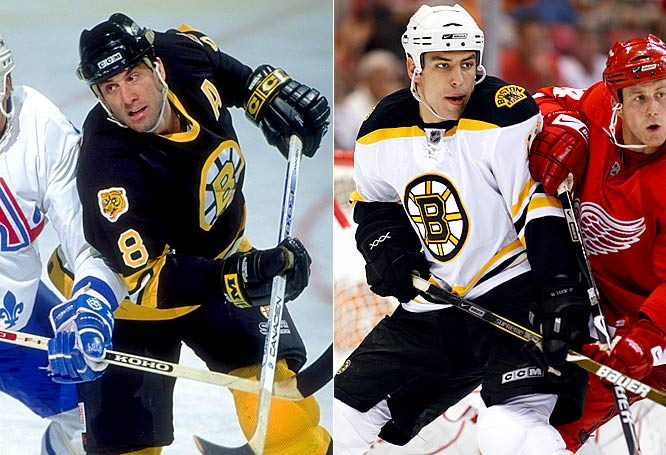 The quintessential power forward, Neely led the Bruins in scoring seven times between 1986 and '96, topping 50 goals three times while battling injuries with a determination that earned him the Masterton Trophy in 1994.<br><br>Already a classic Bruins power forward at age 20, Lucic is a 6-4, 220-pounder who relishes big hits and scraps. He also scores the occasional big goal (he potted 17 this season, to go along with his 136 PIM) and his offensive upside has observers predicting a more Neely-esque output in the future.