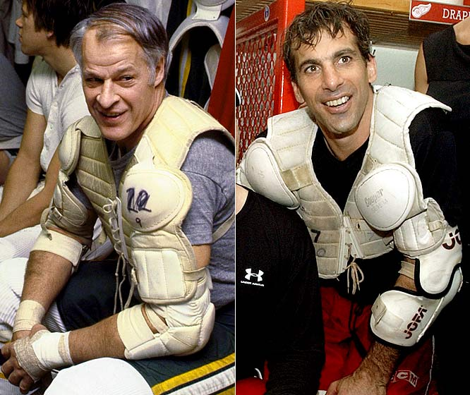The 2009 NHL playoffs will showcase players who echo past stars celebrated for their toughness. No one embodied that attribute more than Mr. Hockey. The Hall of Famer suffered a skull fracture in 1950 but played for a record 26 NHL seasons, scoring 801 goals and 1,850 points while winning six MVP awards and four Stanley Cups. A ''Gordie Howe Hat Trick'' is his signature goal, assist and fight in the same game.<br><br>Red Wings' defenseman Chris Chelios still plays a vital if limited role at age 47 in his 25th NHL season. No blueliner has skated in more games (1,644) than Chelios, who's been known to dish a little punishment while winning three Stanley Cups and three Norris Trophies.