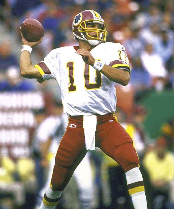 In 1994, Trent Green was cut from the British Columbia Lions of the CFL. Just four years later, he threw for 3,441 yards as a full-time starter for the Redskins. With the newfound success, Green turned down an offer from Washington, in favor of a more lucrative contract with the Rams. The next season, Green suffered a season-ending knee injury in a preseason game against the Chargers, leaving Kurt Warner to take over and lead the Rams to Super Bowl XXXIV. Green continued as a backup the following season and was traded to the Chiefs at season's end.