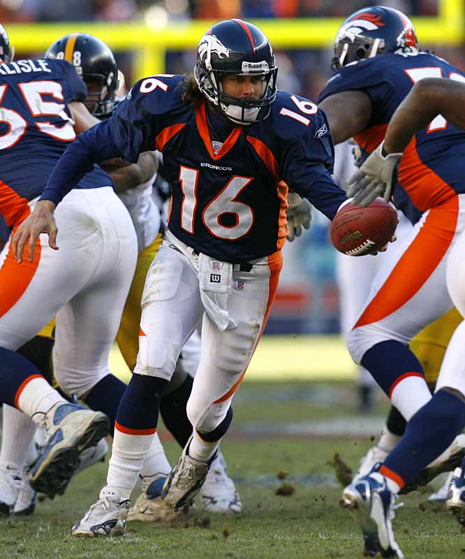 Coming off career numbers in 2001 (3,653 yards, 18 TD, 79.6 QB rating), Jake Plummer's stats dropped the following season (2,972 yards, 65.7 QB rating), which would prove to be his final with the Cardinals. Plummer signed as a free agent with the Broncos in 2003, replacing Brian Griese. That season, he led the Broncos to a wild-card playoff berth, and two seasons later he posted career highs in yards (4,089) and TDs (27).