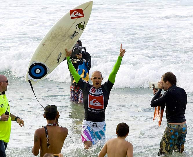 Slater celebrated after defeating Mick Fanning to win the Quicksilver Pro at Snapper Rocks (Australia) in March 2008. Slater won five of the tour's first seven events last year and cruised to his ninth world title.
