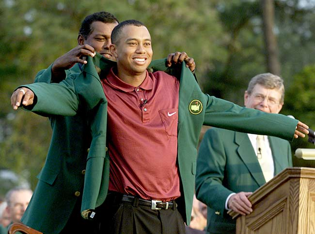 Tiger Woods becomes the youngest and the first African-American person to win the Masters Tournament at the age of 21. He also sets a record by finishing 18-under with a tournament-record score of 270.