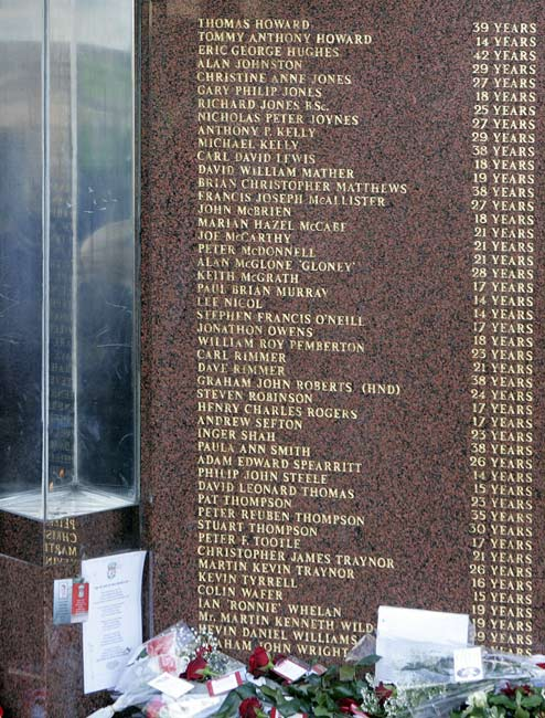 In Sheffield, England, 96 people die at Hillsborough stadium during a semifinal soccer match between Liverpool and Nottingham Forest. Most of the victims were crushed when a barrier collapsed on an overcrowded pen behind one of the goals.