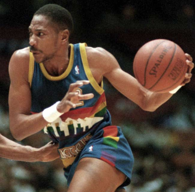 The Denver Nuggets' frontcourt of Alex English (pictured, 25.4 ppg), Dan Issel (22.9 ppg) and Kiki Vandeweghe (21.5 ppg) become the first trio to each average more than 20 ppg since Bob Pettit, Cliff Hagan and Clyde Lovellette of St. Louis in 1961.