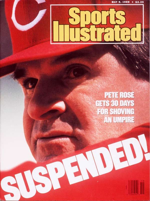 Reds manager Pete Rose is suspended 20 days and fined $10,000 for pushing David Pallone after the umpire made a delayed call at first base in a game in a 6-5 Mets win at Riverfront.