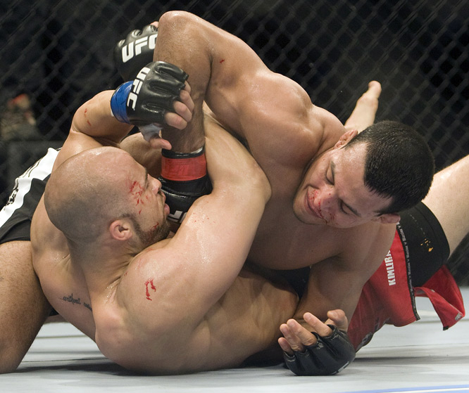 "Both former ""Ultimate Fighter 8"" light-heavyweight contestants, Marshall and Magalhaes went head to head for the full three rounds. But it was Marshall (bottom) who earned nods from all three judges for the win."