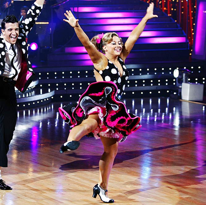 "In one episode, Johnson was congratulated for her ""killer instinct"" as a ballroom dancer and the pint-sized gymnast waltzed her way to the top prize in the eighth season of the show."
