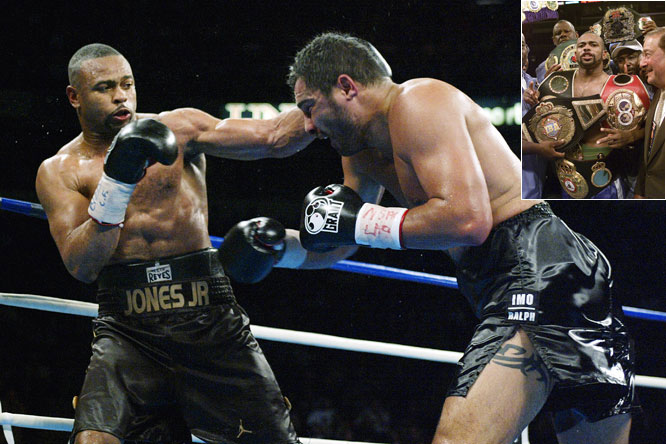 Though he's remembered of late for getting peppered with punches from Joe Calzaghe at Madison Square Garden, Roy Jones Jr. will always be regarded as one of the top brawlers. His 53-5 record, with 39 KOs, includes world championships at middleweight, super middleweight, light heavyweight and heavyweight, which he earned byr defeating John Ruiz in 2003.