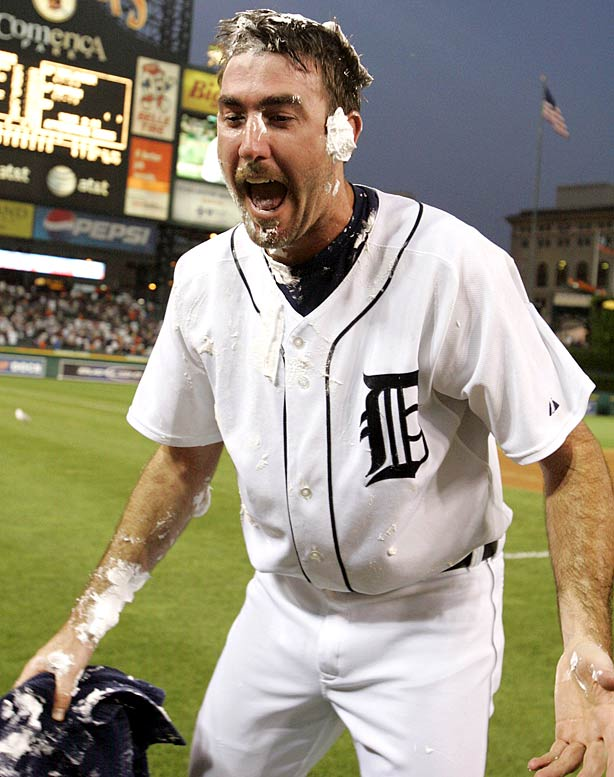 """With a filthy arsenal that includes a high-90s heater, hard-breaking curveball and knee-buckling changeup, everyone knew that Justin Verlander had no-hit stuff. Then 24 years old, Verlander put it all together against the Brewers, striking out 12 and walking four. Milwaukee's J.J. Hardy knew his team was in trouble right off the bat: """"I think the pressure started mounting in the first inning, when he was throwing 100 mph with that curveball and changeup, you know?"""" Hardy told MLB.com. """"When he can throw them all for strikes, he's tough to hit."""""""
