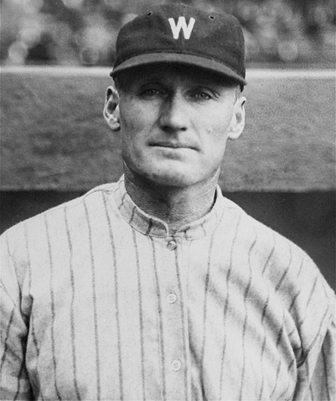 Johnson, who pitched in the early part of the century, earned his nickname because of his size and rocket arm. In 21 seasons, Johnson won 417 games for the Washington Senators.