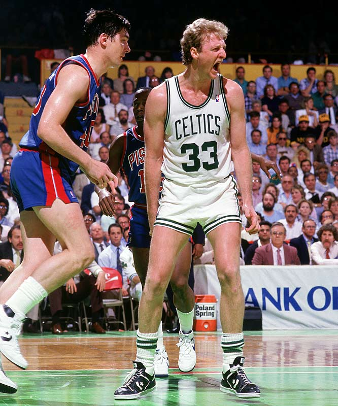 The series had the requisite bad blood (Bill Laimbeer and Larry Bird were ejected for fighting in Game 3, Robert Parish was suspended one game for hitting Laimbeer), improbability (Bird's famous steal and feed to Dennis Johnson for a game-winning layup in Game 5) and tension (Game 7 had 19 second-half lead changes before the veteran Celtics eliminated the on-the-rise Pistons 117-114).