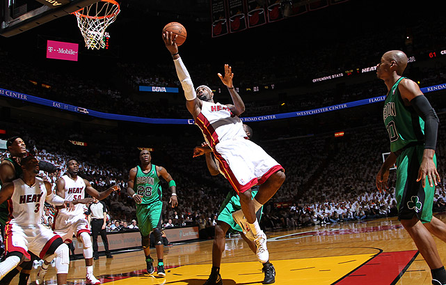 The third straight postseason matchup between the Heat and Celtics was all about LeBron James. The regular-season MVP averaged 33.6 points and 11 rebounds during the series and saved the Heat with a critical 45-point performance on the road in a do-or-die Game 6. The seven-game series also brought out the best in Rajon Rondo, whose Game 2 performance (44 points, 10 assists, eight rebounds in 53 minutes) was one for the ages.