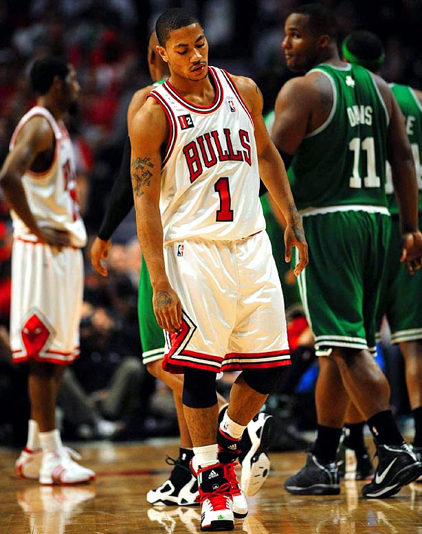 In the only lopsided game of the series, Boston led by 11 after one quarter and 22 at the half against the host Bulls, who committed 22 turnovers and shot 37.5 percent from the field. One day after being named Rookie of the Year, Derrick Rose scored nine points on 4-of-14 shooting and had seven turnovers.