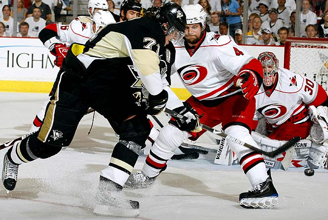 Evgeni Malkin put Pittsburgh ahead for good by scoring twice in the third period of his first three-goal playoff performance, and the Penguins beat the Hurricanes 7-4 Thursday night, May 21, to open a two-game lead in the series.  Malkin's most impressive goal came when he picked up the puck in the corner, carried it behind the net and used a spin move to put a backhander past goalie Cam Ward from a bad angle for his 10th of the playoffs.