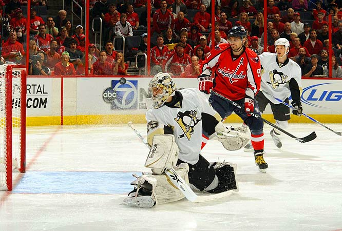 Marc-Andre Fleury watches a shot sail wide of the net during Game 1 against the Capitals.