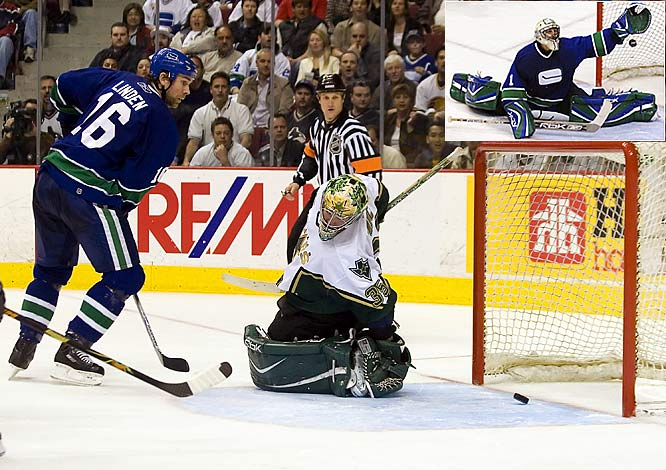 The series was a war, with the Stars climbing out of a three-games-to-one hole. Three of the seven games were settled in an extra session -- including a four-OT thriller in Game 1, won by the Canucks, 5-4, with goalie Roberto Luongo (inset) making 72 saves in his postseason debut. Vancouver advanced on home ice as its longtime hero Trevor Linden, a veteran of eight career Game 7s, broke a 1-1 tie by tipping a Mattias Ohlund shot past Stars goalie Marty Turco seven minutes into the third period. Bryan Smolinski and Taylor Pyatt later added empty-netters.