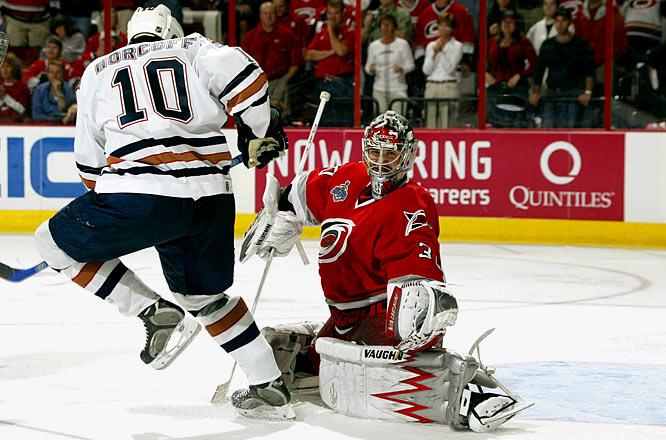 After a respectable 2005-06 regular season (14-8-2, 3.68 GAA), Ward replaced struggling starter Martin Gerber in Game 2 of the first round against Montreal and went on to backstop Carolina to the Stanley Cup. The 22-year-old showed uncommon calm in big situations -- winning Game 7s in the Eastern Conference and Cup finals -- and taking the Conn Smythe Trophy as playoff MVP, with 15 wins and two shutouts. One of the shutouts was the first by a rookie in the Cup final since Patrick Roy in 1986.