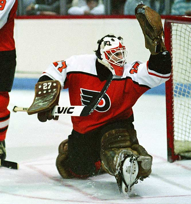 A 22-year old rookie with an unusually combative, aggressive, physical style and fondness for shooting the puck, Hextall won 37 regular season games in 1986-87 and then became the fourth player, and third goalie, from the losing team in the Cup final to win the Conn Smythe. He posted a 15-11, 2.77 GAA postseason slate while battling Wayne Gretzky's Oilers through seven Cup final games.