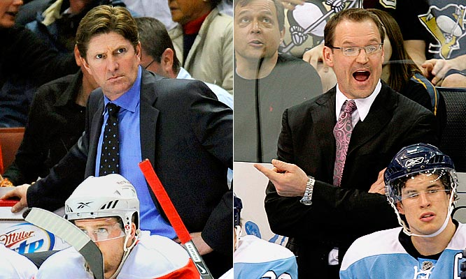 The instant success of Dan Byslma (right) in Pittsburgh has been one of the year's most inspiring stories, but this is a guy who spent the better part of the season scheming to beat Hershey and Bridgeport. Mike Babcock (left) is the leading candidate to coach Team Canada at the 2010 Winter Olympics because he just may be the best in the business. His experience is a huge plus for Detroit. <br><br>Edge: Red Wings