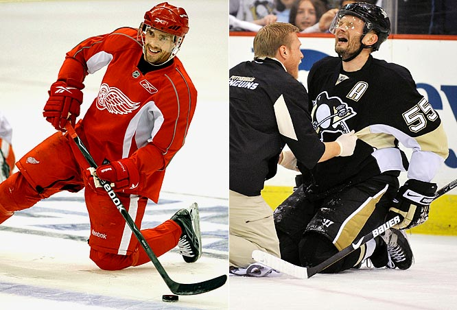 Sergei Gonchar (right) suffered Pittsburgh's only serious injury of the postseason when he was laid out by that knee-on-knee hit from Alexander Ovechkin in the second round. It cost him two games in that series, but he appears close to full strength. The Red Wings are far more battered, with the availability of Pavel Datsyuk (left), Kris Draper and Jonathan Ericsson for Game 1 in question. Nick Lidstrom is expected to return, but who knows how much he'll have to offer?<br><br> Edge: Penguins