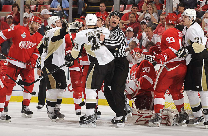 Frustration took over for the Penguins, who have been outscored 11-2 in three games at Joe Louis Arena in the series.