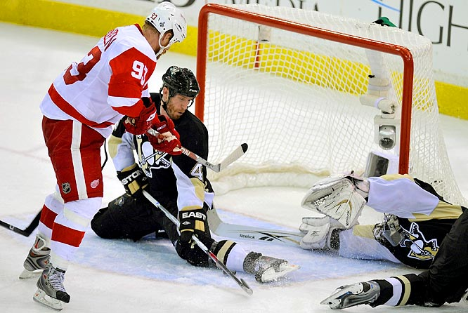 Rob Scuderi stopped one shot with his stick. Then, he spread-eagled in perfect butterfly goaltending style -- with Marc-Andre Fleury a little out of position -- to stop a couple other attempts with foot and hand and who knows what else until he got a stoppage in play with just 13.2 seconds left. The Pens held on to win 2-1.