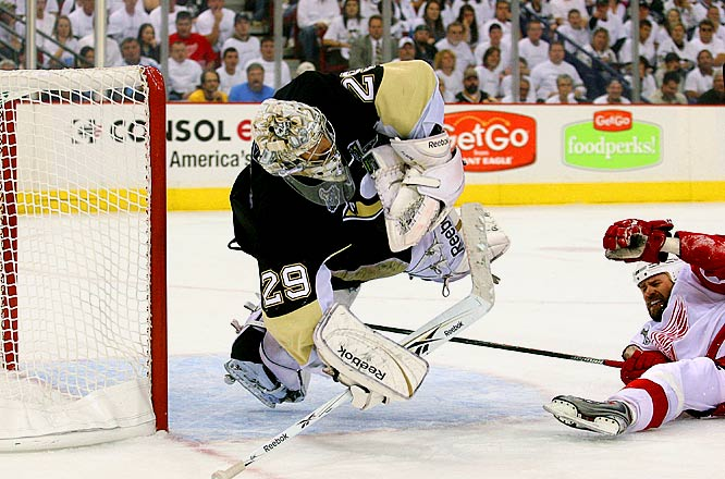 Marc-Andre Fleury, with his second successive excellent game, made 37 saves. Fleury has been a key component in the Penguins winning Games 3 and 4 against Detroit to tie the series up at 2-2. He has a 2.00 GAA and .941 save percentage in those two games.
