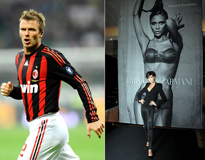 "While David is still happily playing on loan in Italy, Americans can at least be thankful that he gave them one thing before he left. Because of Golden Balls, Victoria said she was comfortable being semi-nude in huge billboard ads for Emporio Armani. ""It can be a little intimidating standing half-naked in a studio full of strangers,"" Posh Spice said. ""So it's good to have the support of each other, reassuring and encouraging one another."""