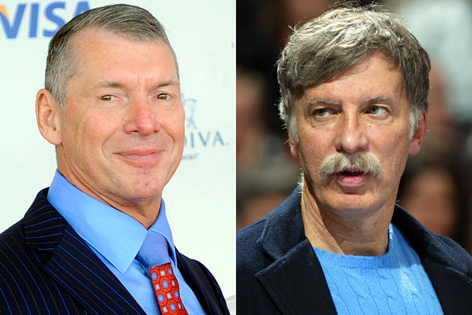 In a dispute that has all the makings of a pay-per-view main event, WWE chairman Vince McMahon challenged Nuggets owner Stan Kroenke to a steel-cage match.  McMahon is angry because Kroenke double-booked the Pepsi Center with Game 4 of the Western Conference finals and a <i>Monday Night Raw</i> show that is expected to sell out and has been on the schedule since last August. McMahon says the WWE still plans to be in Denver on Monday night and that <i>Raw</i> will air live on USA Network whether there is a Nuggets game or not. Maybe they can hold the shows simultaneously with the Lakers and Nuggets getting in the ring for a battle royal to decide Game 4.