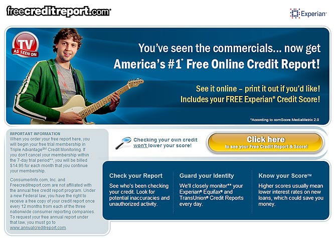 You know that pirate band that sings those not-so-catchy commercial jingles for FreeCreditReport.com during every commercial break for every game you've ever watched in the past year? Well, it looks like FreeCreditReport.com isn't so free, according to the Federal Trade Commission, and it's being forced to change its tune or go off the air. We're really, really, really hoping for the latter.