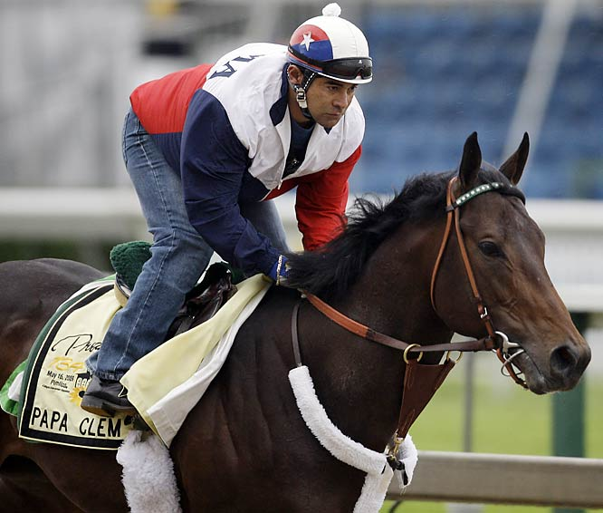 Post Position: 7<br>Jockey: Rafael Bejarano<br>Trainer: Gary Stute<br><br>It's a familiar story by now: rough trip in Louisville, but running at the end. Such is the story of Papa Clem's Derby odyssey. He's fast enough to keep the leaders in his sights, and he's adaptable to almost any track condition. Working against him, though, is the fact that the three Derby horses that finished in front of him (Mine That Bird, Pioneerof the Nile and Musket Man) all return here.