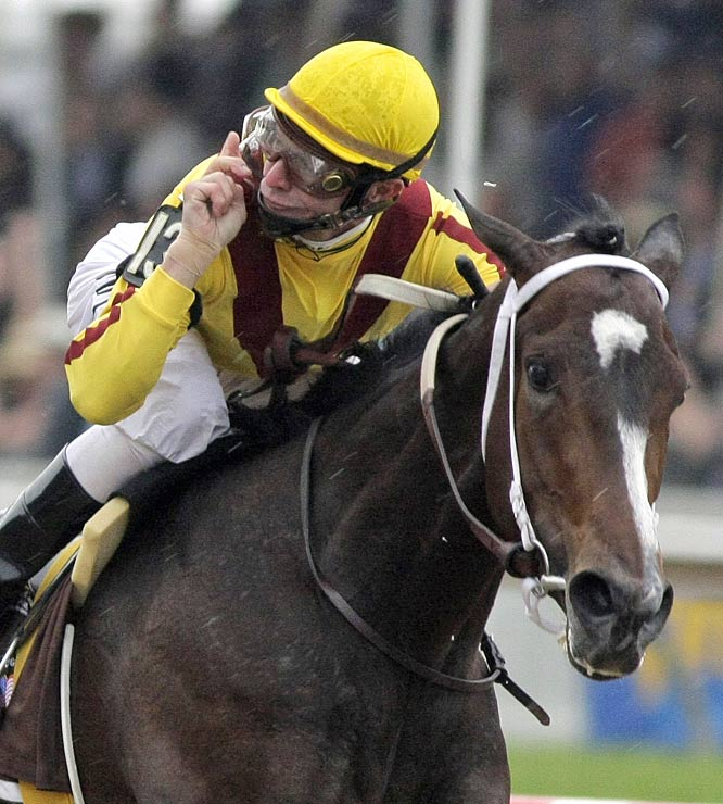Calvin Borel is the first jockey in history to win the first two legs of the Triple Crown on different horses (Kentucky Derby -- Mine That Bird; Preakness -- Rachel Alexandra).