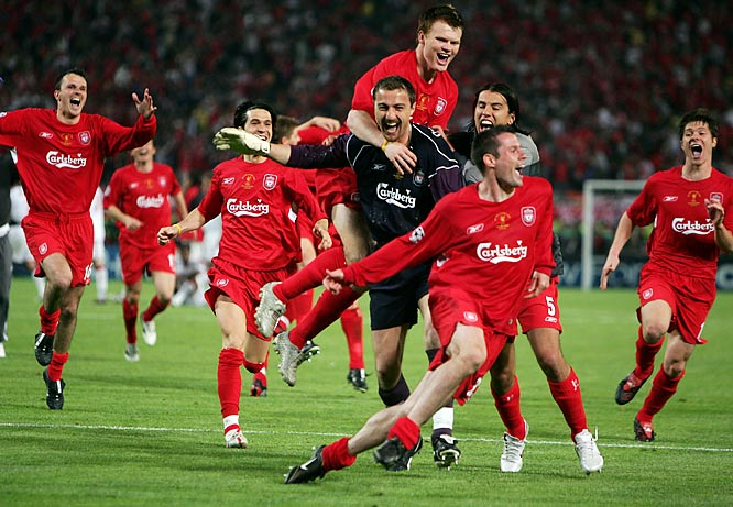 Known simply as The Miracle of Istanbul, Liverpool trailed its emboldened Italian foe 3-0 after halftime and appeared destined for a humiliating defeat at the Atatürk Stadium. But three goals in six minutes -- from Steven Gerrard, Vladimir Smicer and Xabi Alonso -- helped put the Reds back on level terms with the Italians. The sides turned to penalties following a half-hour of extra time, where Jerzy Dudek's heroics in goal helped Liverpool secure its fifth European Cup.