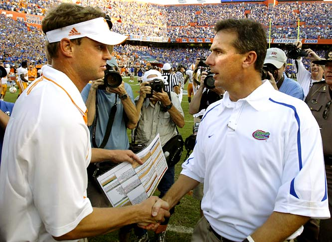 At Tennessee's Signing Day gathering, Kiffin accused Meyer of breaking an NCAA rule, when in fact the Florida coach hadn't. As further embarrassment, the SEC reprimanded Kiffin for doing so. Though he didn't blast Kiffin in the media, Meyer got his revenge -- the Gators took down the Vols 23-13 on Sept. 19.