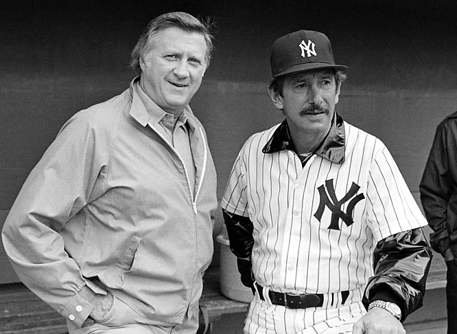 In a lifetime full of feuds and fights, Billy Martin's most famous sparring partner was George Steinbrenner. The Yankees' skipper on five different occasions, Martin's tenure lasted longer than one season just once. Martin publicly feuded with The Boss, calling him a convict, and forcing Steinbrenner's hand by fighting with everyone from Reggie Jackson to a Minneapolis Marshmallow salesman.