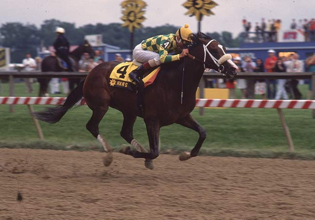 At the 117th Preakness, Hansel -- ridden by Jerry Bailey -- wins in 1:54.