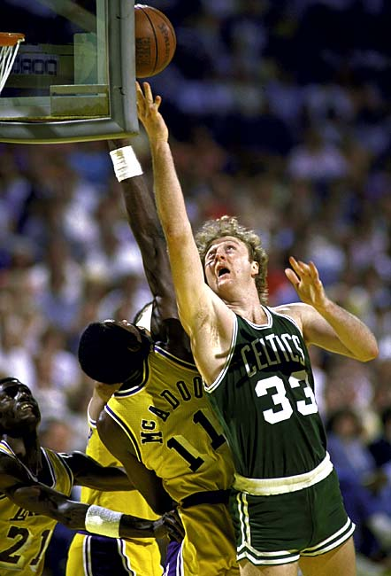 """In Game 1 of the NBA Finals, the Celtics decimate the Lakers, 148-114. The Celtics' 148 points and 62 field goals remain a record for the NBA Finals and the game lives in infamy as the """"Memorial Day Massacre."""""""