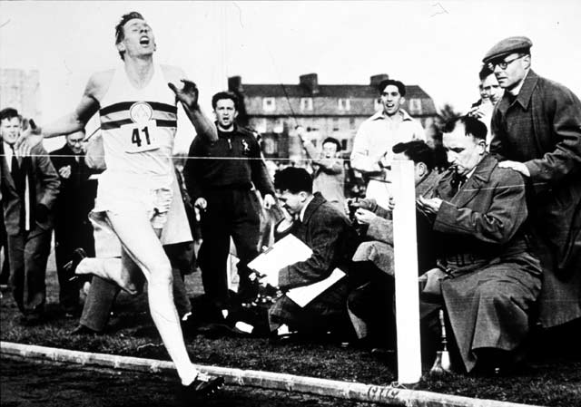 During a meet between British AAA and Oxford University at Iffley Road Track in Oxford, British runner Roger Bannister broke the four minute mile with a time of three minutes, 59.4 seconds.