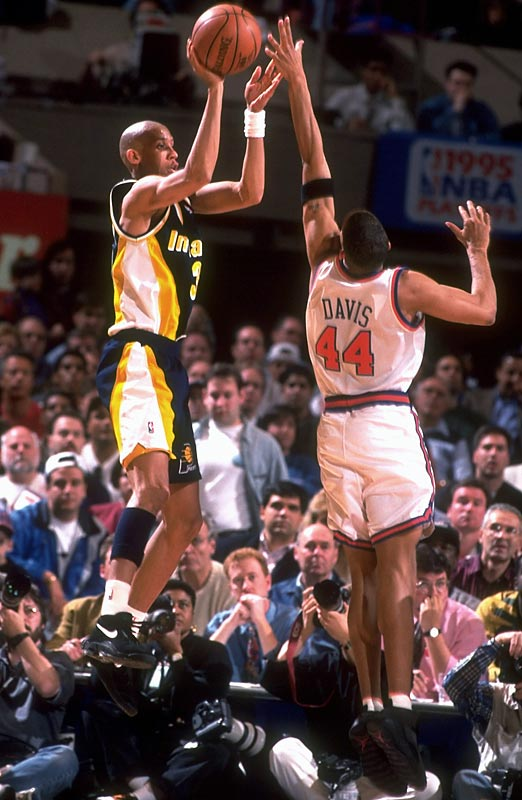 Indiana's Reggie Miller scores eight points (two three-pointers, two game-winning free throws) over the final 16.4 seconds of the game to lead the Pacers to a shocking 107-105 come-from-behind win over host New York in Game 1 of their Eastern Conference semifinal series. The Pacers went on to win the series in seven games.