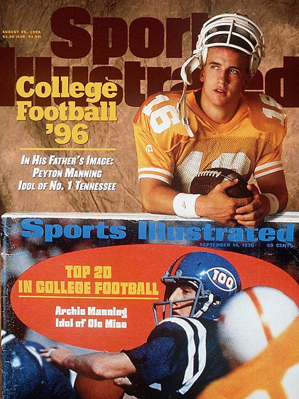 Tennessee quarterback Peyton Manning shared the 1996 College Football preview issue with his dad, Archie, who appeared on the cover in 1970, when he was a quarterback at Ole Miss.