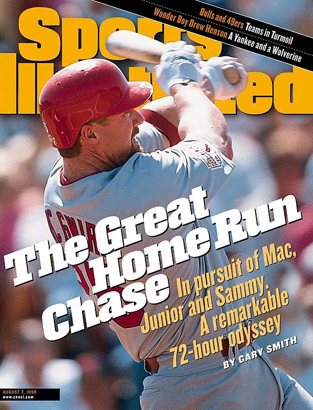 Baseball fans were captivated by the 1998 home run race between Mark McGwire and Sammy Sosa. The Cardinals first baseman would end the season with 70 round-trippers, while the Cubs slugger would finish with 66, but steroid accusations brought both players' achievements into question.