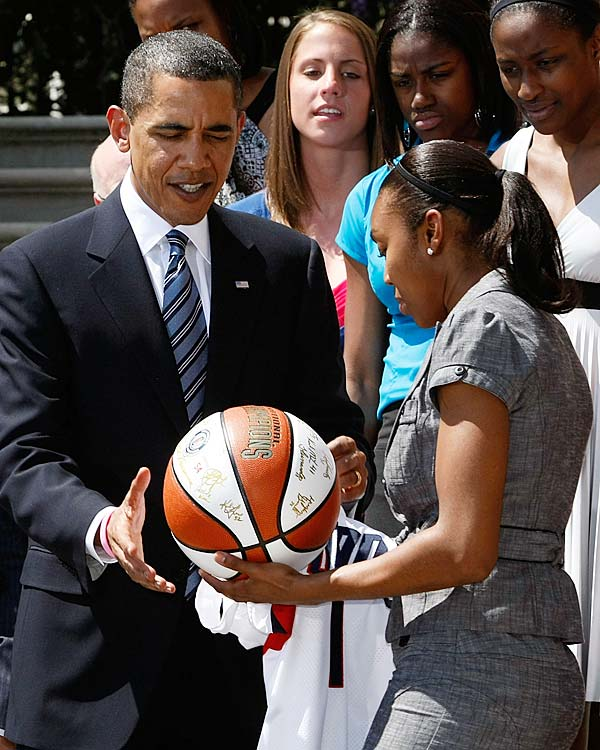 The President greeted the UConn women's team on April 27 and played a game of P-I-G with some of the players.