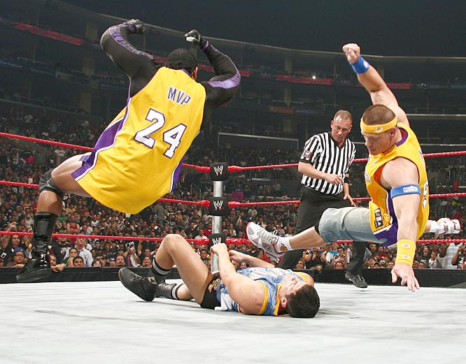 MVP and Cena double-team Rhodes. Much to the delight of the Los Angeles crowd, The Lakers squad would end up winning the match.