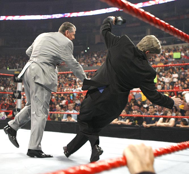 McMahon got final say, pushing the imposter Nuggets owner to the canvas.