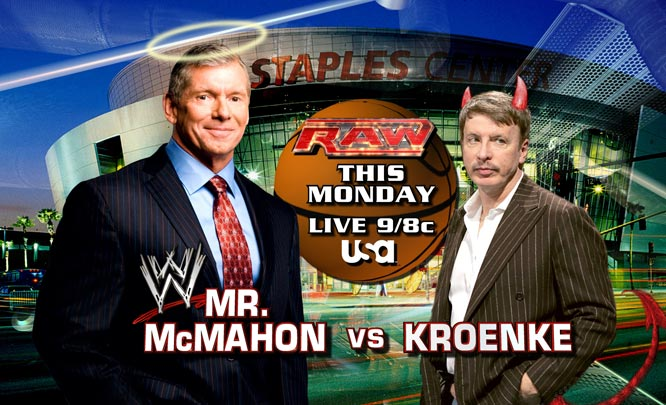 The WWE and Denver Nuggets had a scheduling conflict for Monday Night's RAW when the WWE was forced out of the Pepsi Center due to Game 4 of the Nuggets-Lakers series. After publicly skewering Nuggets' owner Stan Kroenke for the mishap, WWE owner Vince McMahon moved the show to The Staples Center in Los Angeles. He also decided to have some fun at the expense of the Nuggets owner by challenging him to a fight. Here are images from a NBA-themed episode of RAW.