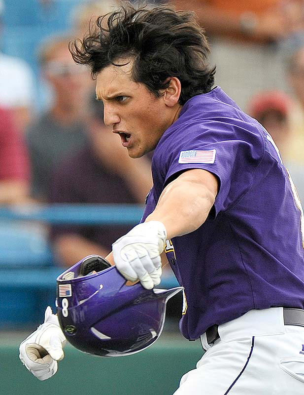 LSU's Mikie Mahtook celebrates after hitting a three-run homer against Arkansas in the first inning.