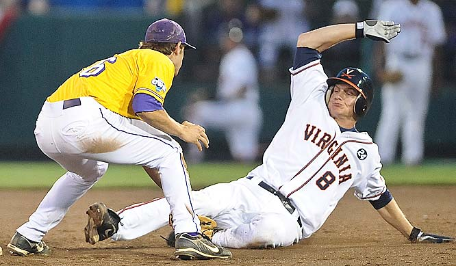 Virginia's John Hicks (8) is tagged out by LSU shortstop Austin Nola in the sixth.
